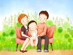 Lovely_illustration_of_Happy_family_on_sofa_wallcoo_com